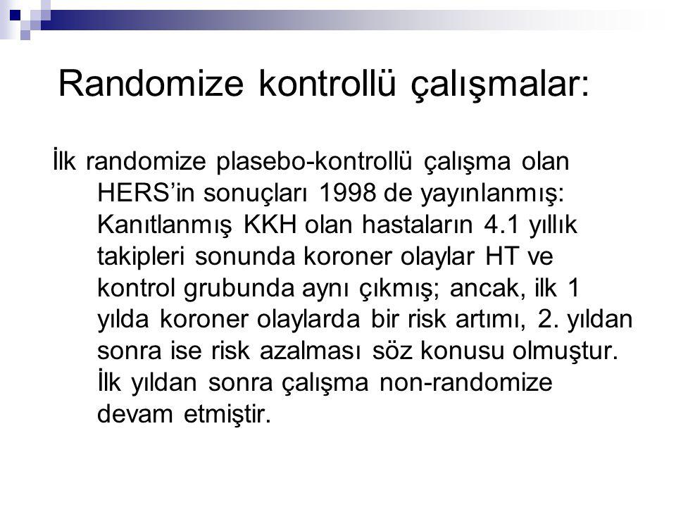 Randomize kontrollü çalışmalar: İlk randomize plasebo-kontrollü çalışma olan HERS'in sonuçları 1998 de yayınlanmış: Kanıtlanmış KKH olan hastaların 4.