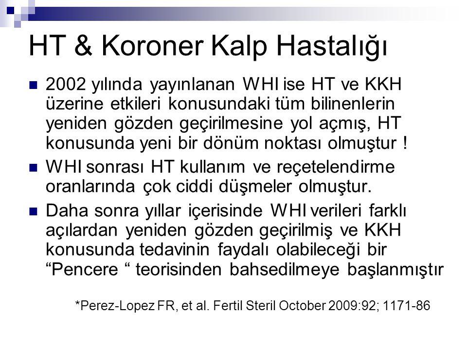 HT & Koroner Kalp Hastalığı 2002 yılında yayınlanan WHI ise HT ve KKH üzerine etkileri konusundaki tüm bilinenlerin yeniden gözden geçirilmesine yol a