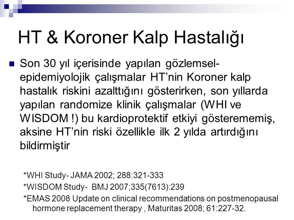 HT & Koroner Kalp Hastalığı Son 30 yıl içerisinde yapılan gözlemsel- epidemiyolojik çalışmalar HT'nin Koroner kalp hastalık riskini azalttığını göster