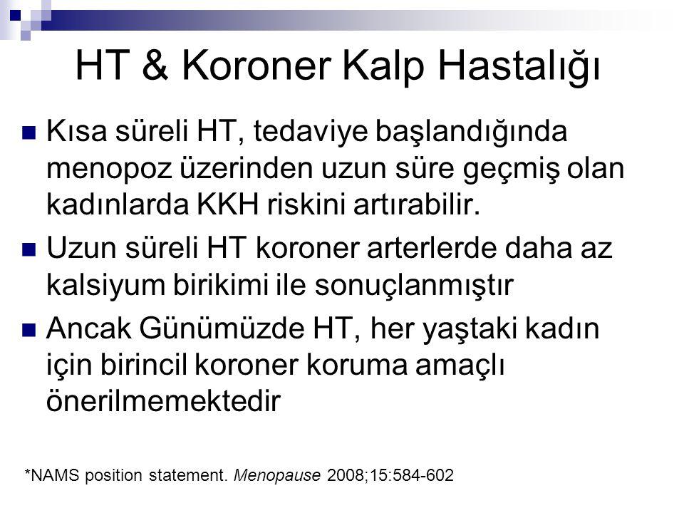 HT & Koroner Kalp Hastalığı Kısa süreli HT, tedaviye başlandığında menopoz üzerinden uzun süre geçmiş olan kadınlarda KKH riskini artırabilir. Uzun sü