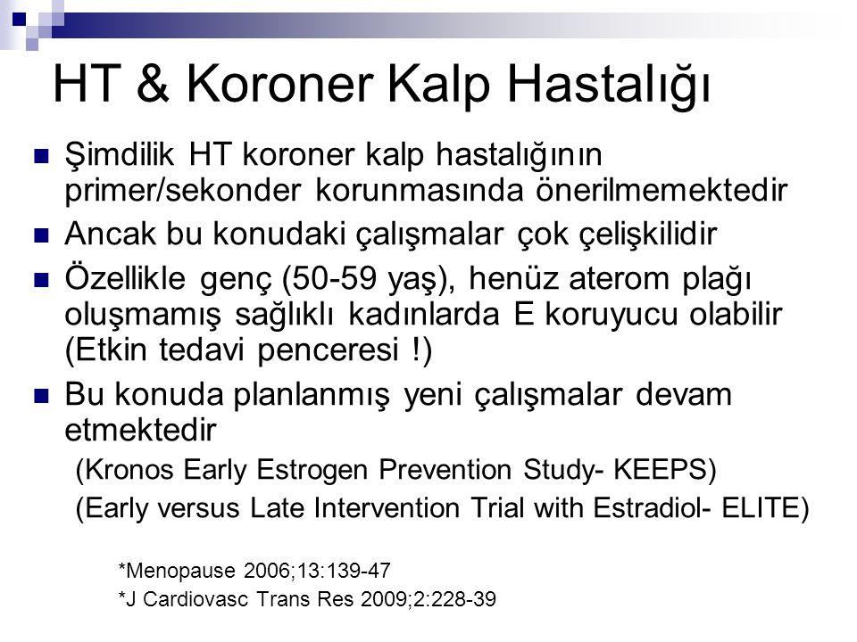 HT & Koroner Kalp Hastalığı Şimdilik HT koroner kalp hastalığının primer/sekonder korunmasında önerilmemektedir Ancak bu konudaki çalışmalar çok çeliş
