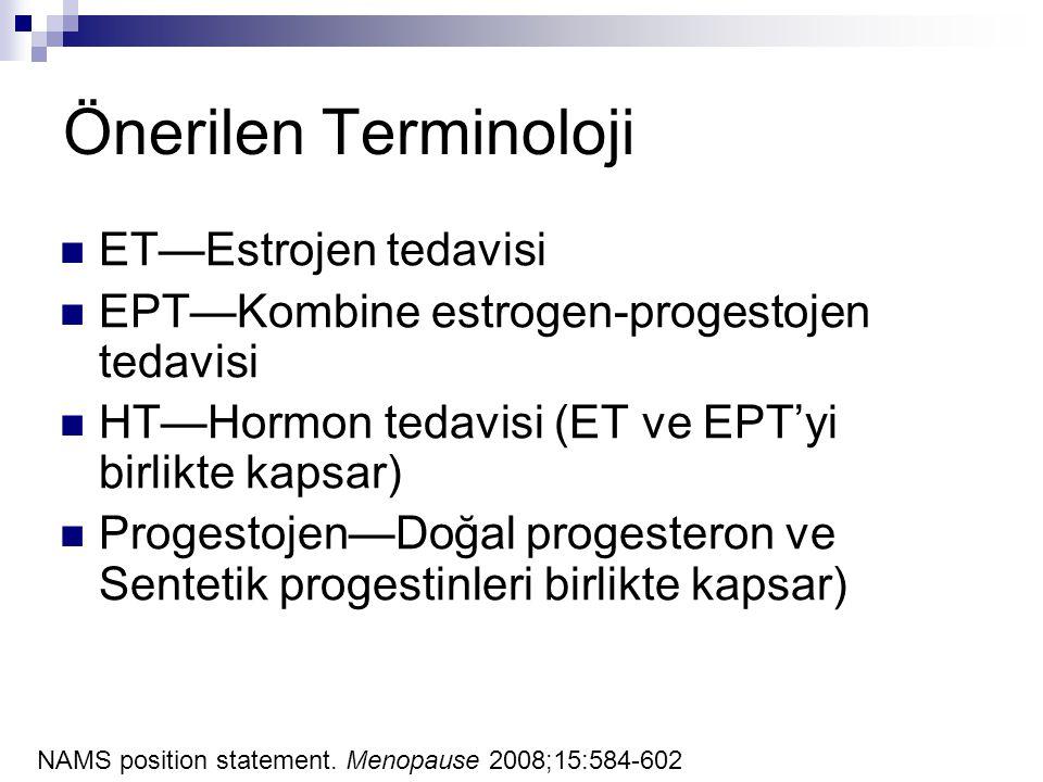 Önerilen Terminoloji ET—Estrojen tedavisi EPT—Kombine estrogen-progestojen tedavisi HT—Hormon tedavisi (ET ve EPT'yi birlikte kapsar) Progestojen—Doğa