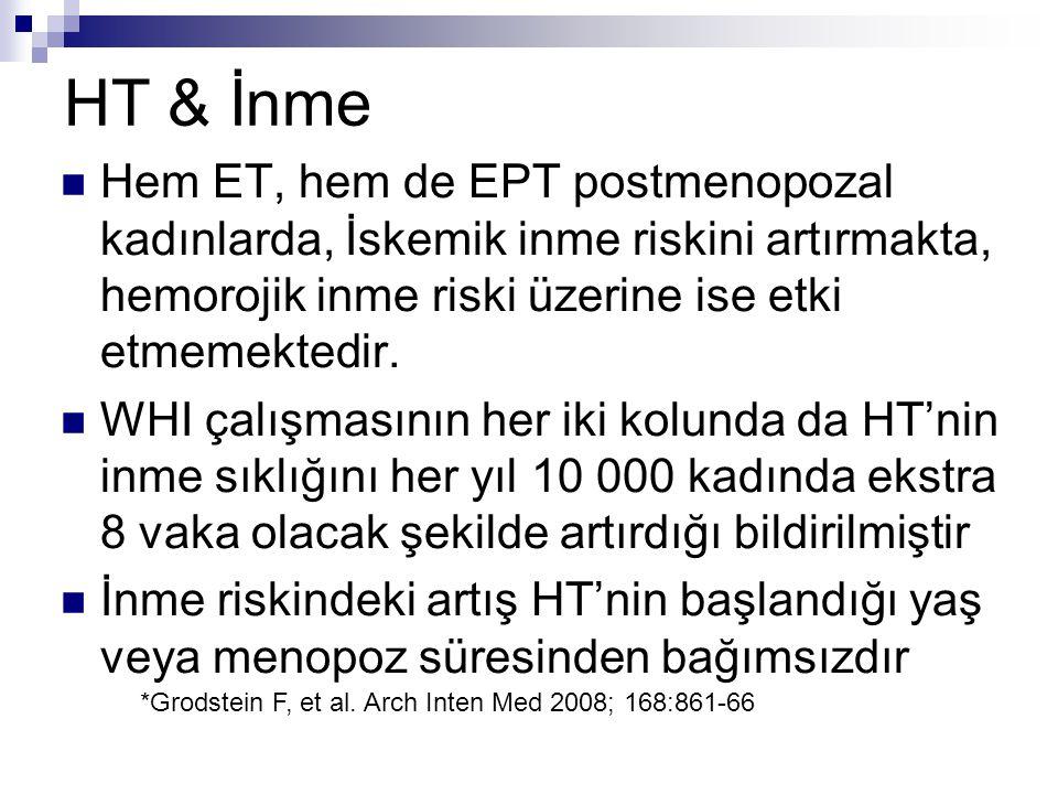 HT & İnme Hem ET, hem de EPT postmenopozal kadınlarda, İskemik inme riskini artırmakta, hemorojik inme riski üzerine ise etki etmemektedir. WHI çalışm