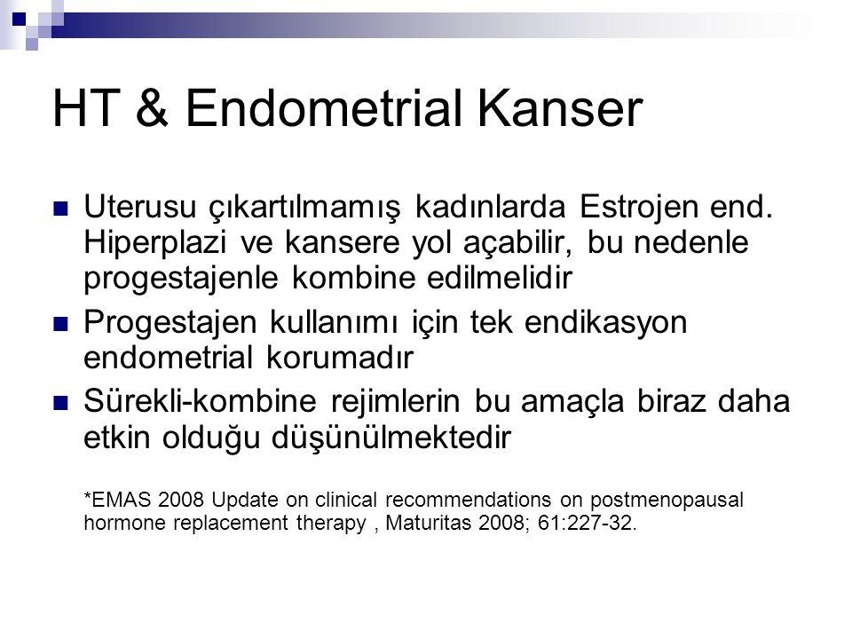 HT & Endometrial Kanser Uterusu çıkartılmamış kadınlarda Estrojen end. Hiperplazi ve kansere yol açabilir, bu nedenle progestajenle kombine edilmelidi