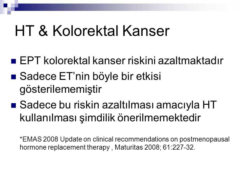 HT & Kolorektal Kanser EPT kolorektal kanser riskini azaltmaktadır Sadece ET'nin böyle bir etkisi gösterilememiştir Sadece bu riskin azaltılması amacı