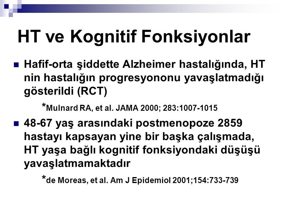 HT ve Kognitif Fonksiyonlar Hafif-orta şiddette Alzheimer hastalığında, HT nin hastalığın progresyononu yavaşlatmadığı gösterildi (RCT) * Mulnard RA,