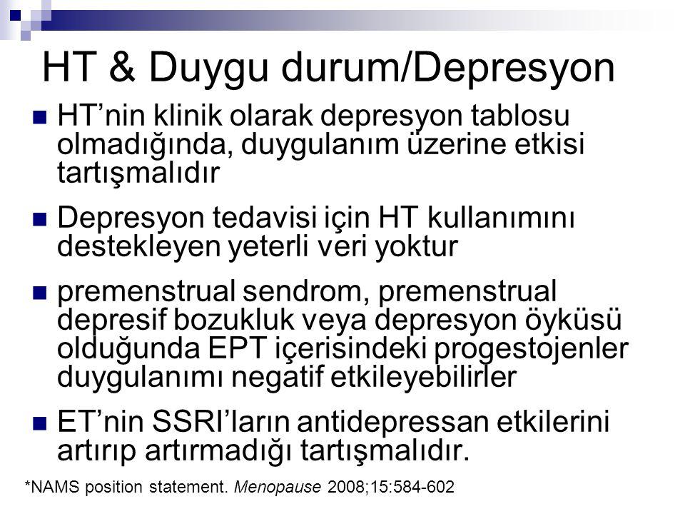 HT & Duygu durum/Depresyon HT'nin klinik olarak depresyon tablosu olmadığında, duygulanım üzerine etkisi tartışmalıdır Depresyon tedavisi için HT kull