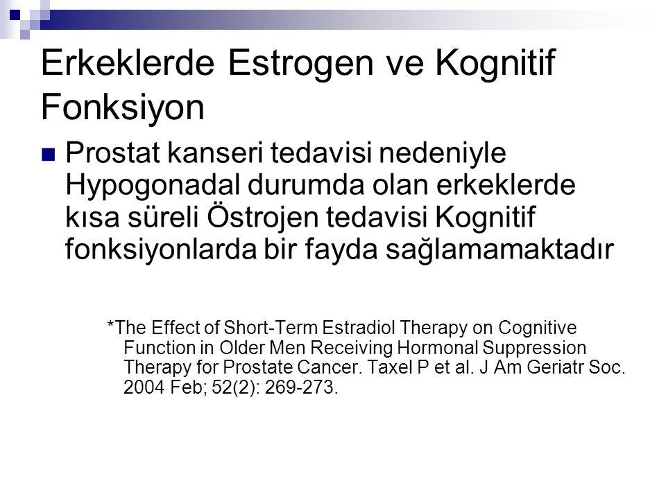 Erkeklerde Estrogen ve Kognitif Fonksiyon Prostat kanseri tedavisi nedeniyle Hypogonadal durumda olan erkeklerde kısa süreli Östrojen tedavisi Kogniti