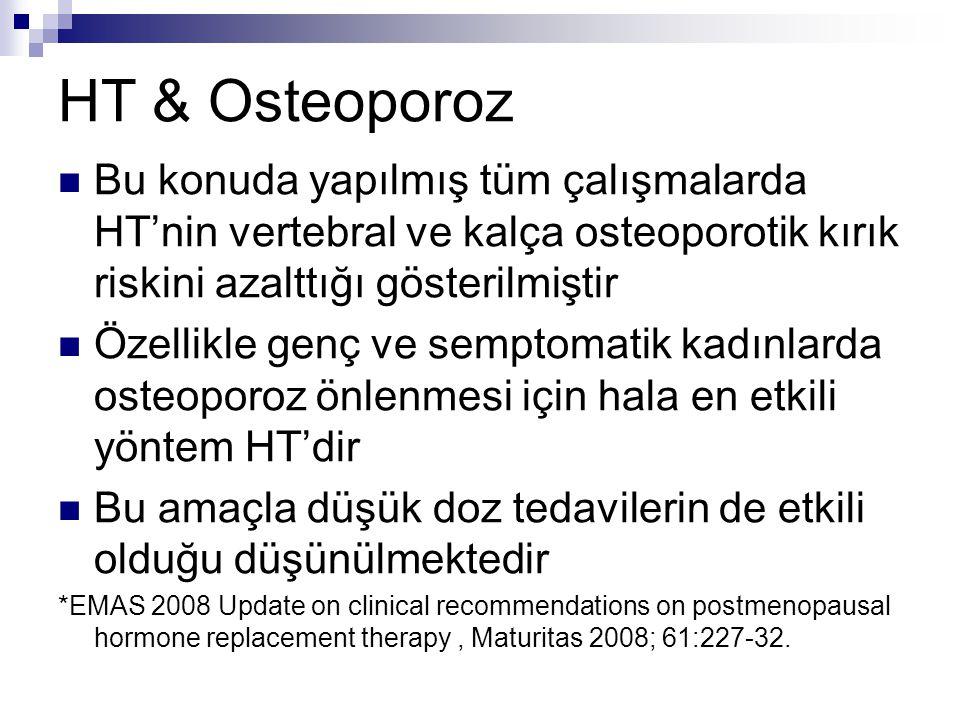 HT & Osteoporoz Bu konuda yapılmış tüm çalışmalarda HT'nin vertebral ve kalça osteoporotik kırık riskini azalttığı gösterilmiştir Özellikle genç ve se