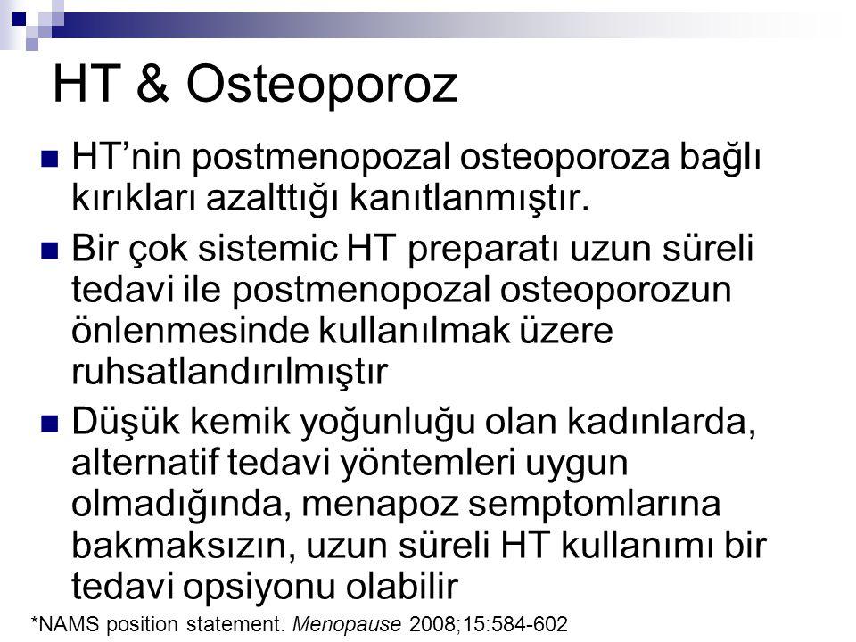 HT & Osteoporoz HT'nin postmenopozal osteoporoza bağlı kırıkları azalttığı kanıtlanmıştır. Bir çok sistemic HT preparatı uzun süreli tedavi ile postme