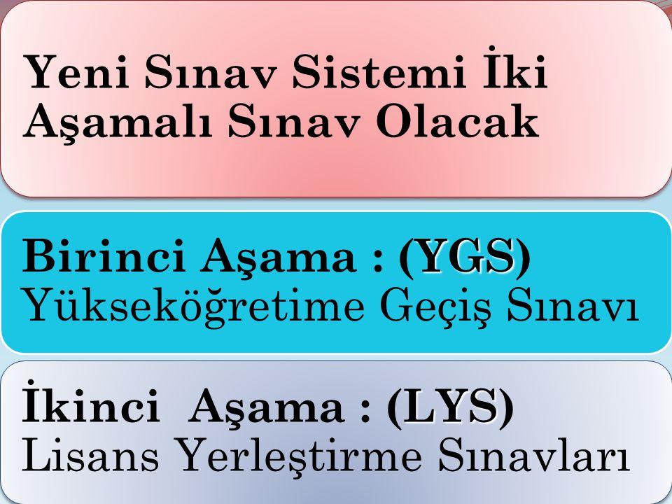 Yeni Sınav Sistemi İki Aşamalı Sınav Olacak YGS Birinci Aşama : (YGS) Yükseköğretime Geçiş Sınavı LYS İkinci Aşama : (LYS) Lisans Yerleştirme Sınavlar