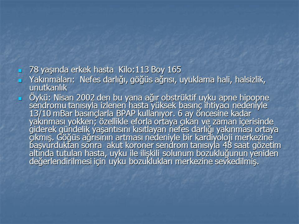 78 yaşında erkek hasta Kilo:113 Boy 165 78 yaşında erkek hasta Kilo:113 Boy 165 Yakınmaları: Nefes darlığı, göğüs ağrısı, uyuklama hali, halsizlik, un