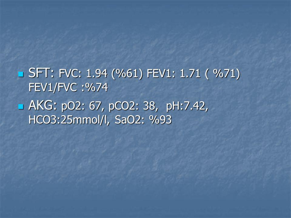 SFT: FVC: 1.94 (%61) FEV1: 1.71 ( %71) FEV1/FVC :%74 SFT: FVC: 1.94 (%61) FEV1: 1.71 ( %71) FEV1/FVC :%74 AKG: pO2: 67, pCO2: 38, pH:7.42, HCO3:25mmol