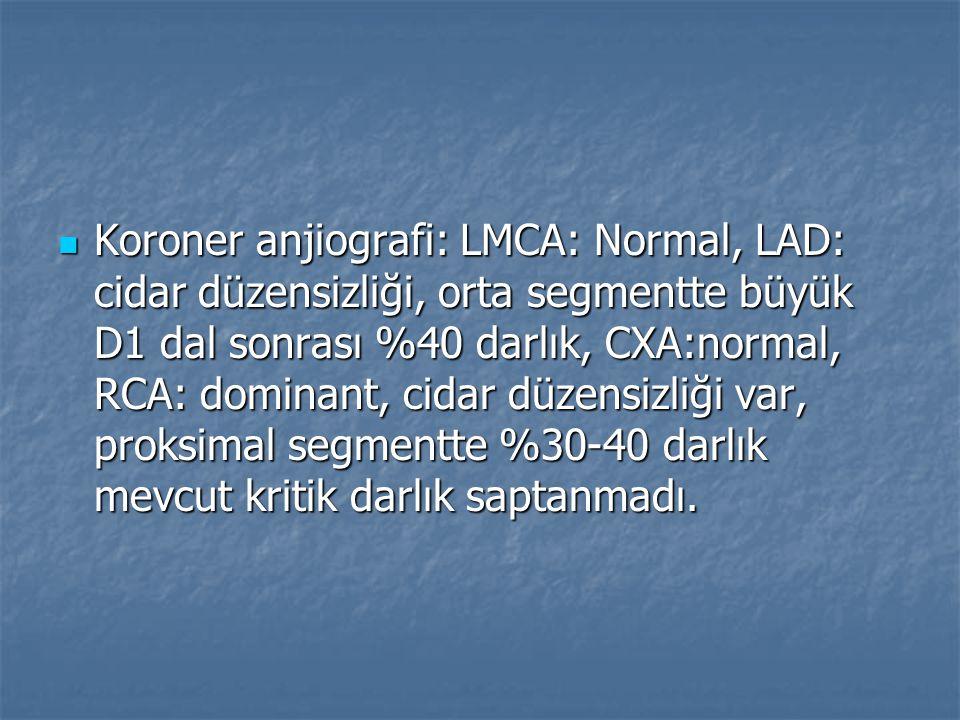 Koroner anjiografi: LMCA: Normal, LAD: cidar düzensizliği, orta segmentte büyük D1 dal sonrası %40 darlık, CXA:normal, RCA: dominant, cidar düzensizli