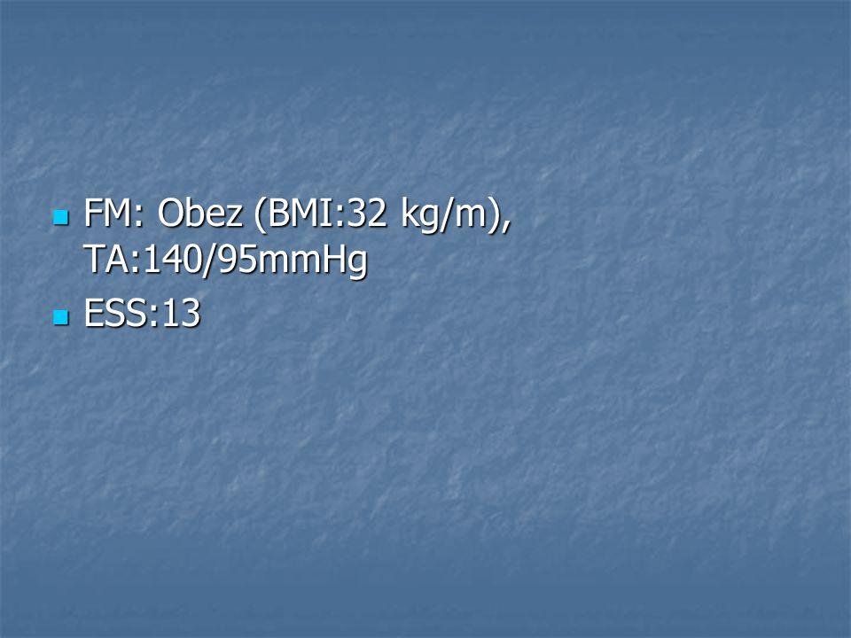 FM: Obez (BMI:32 kg/m), TA:140/95mmHg FM: Obez (BMI:32 kg/m), TA:140/95mmHg ESS:13 ESS:13