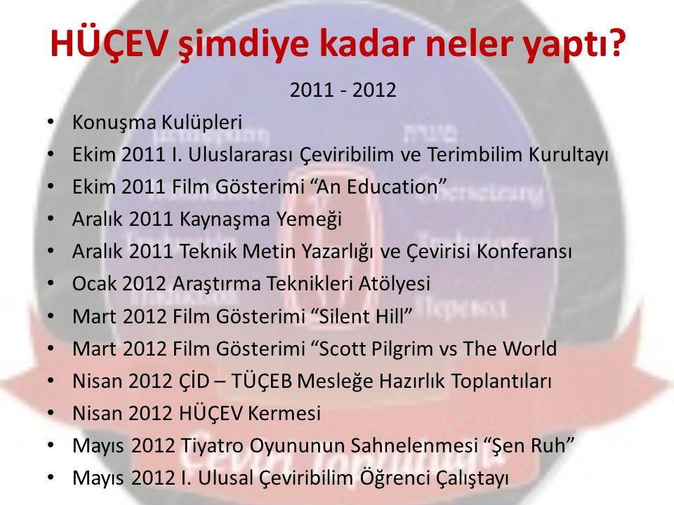 HÜÇEV şimdiye kadar neler yaptı? 2011 - 2012 Konuşma Kulüpleri Ekim 2011 I. Uluslararası Çeviribilim ve Terimbilim Kurultayı Ekim 2011 Film Gösterimi