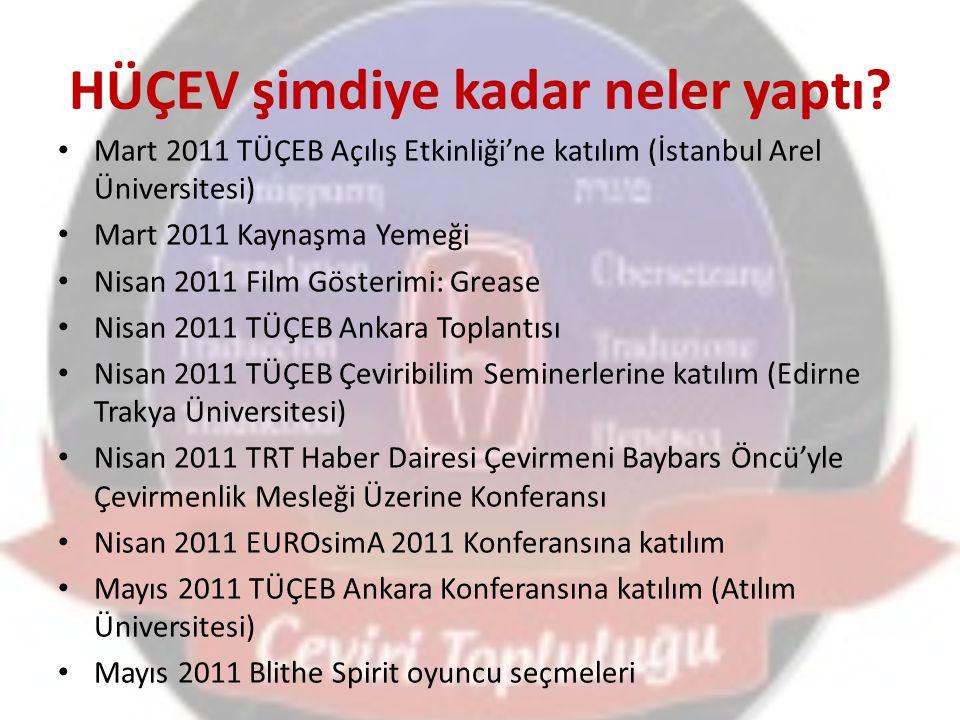 HÜÇEV şimdiye kadar neler yaptı.2011 - 2012 Konuşma Kulüpleri Ekim 2011 I.