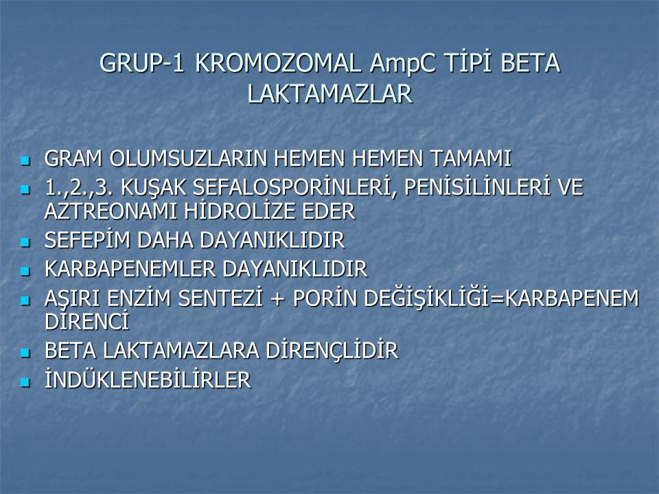 GRUP-1 KROMOZOMAL AmpC TİPİ BETA LAKTAMAZLAR GRAM OLUMSUZLARIN HEMEN HEMEN TAMAMI GRAM OLUMSUZLARIN HEMEN HEMEN TAMAMI 1.,2.,3. KUŞAK SEFALOSPORİNLERİ