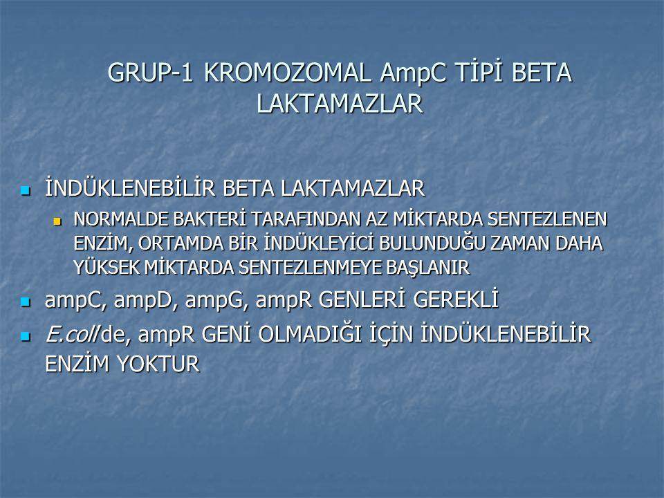 GRUP-1 KROMOZOMAL AmpC TİPİ BETA LAKTAMAZLAR İNDÜKLENEBİLİR BETA LAKTAMAZLAR İNDÜKLENEBİLİR BETA LAKTAMAZLAR NORMALDE BAKTERİ TARAFINDAN AZ MİKTARDA S