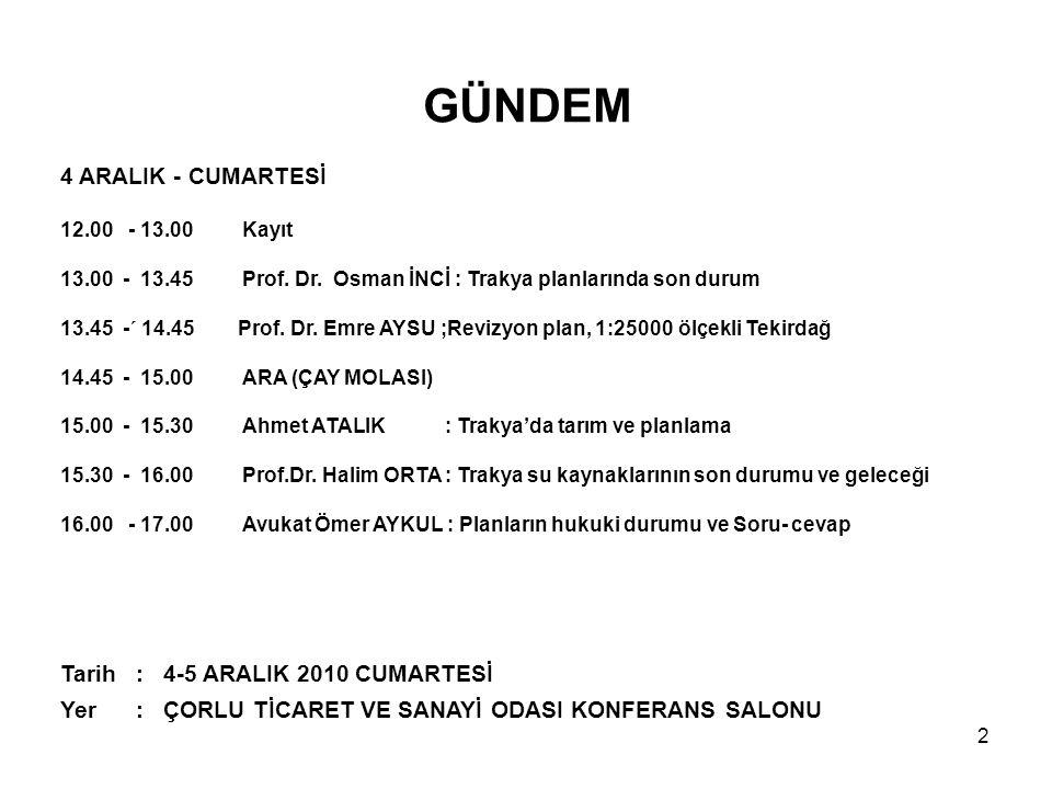 GÜNDEM 4 ARALIK - CUMARTESİ 12.00 - 13.00 Kayıt 13.00 - 13.45 Prof.