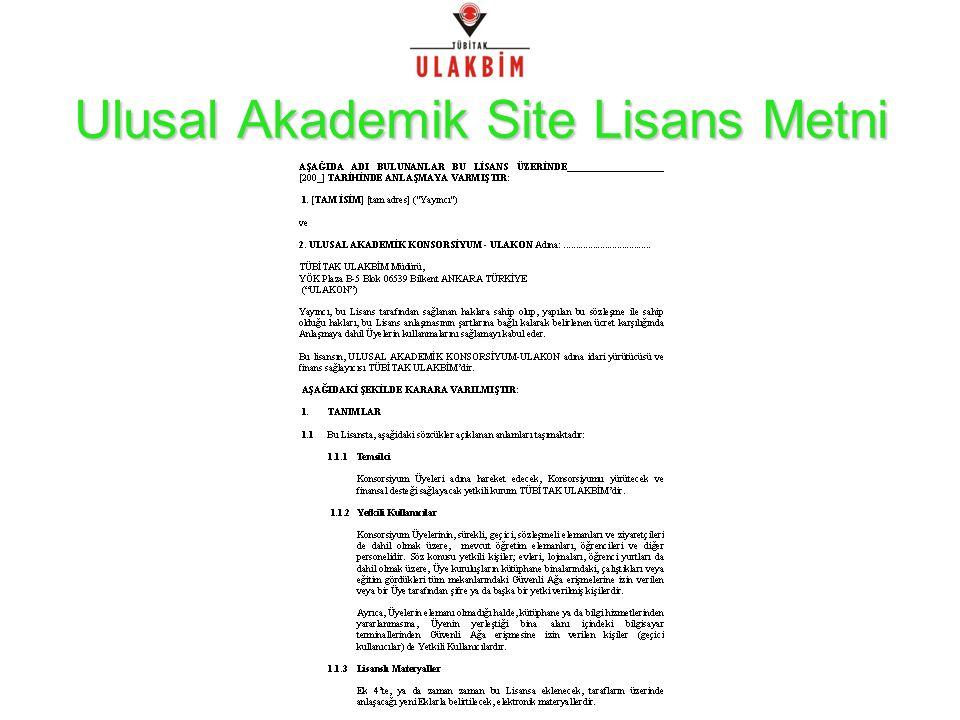 Ulusal Akademik Site Lisans Metni
