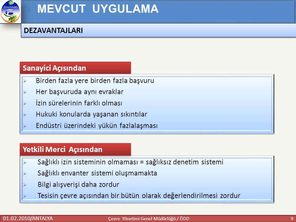 01.02.2010/ANTALYA 9 Çevre Yönetimi Genel Müdürlüğü / ÖDD MEVCUT UYGULAMA  Sağlıklı izin sisteminin olmaması = sağlıksız denetim sistemi  Sağlıklı e