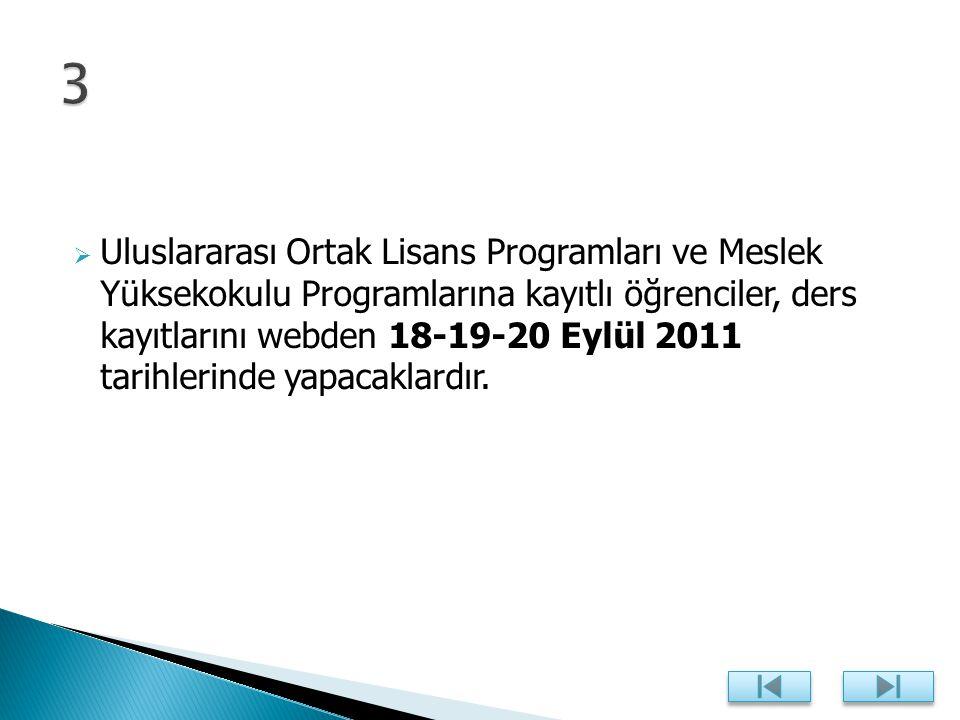  Uluslararası Ortak Lisans Programları ve Meslek Yüksekokulu Programlarına kayıtlı öğrenciler, ders kayıtlarını webden 18-19-20 Eylül 2011 tarihlerinde yapacaklardır.