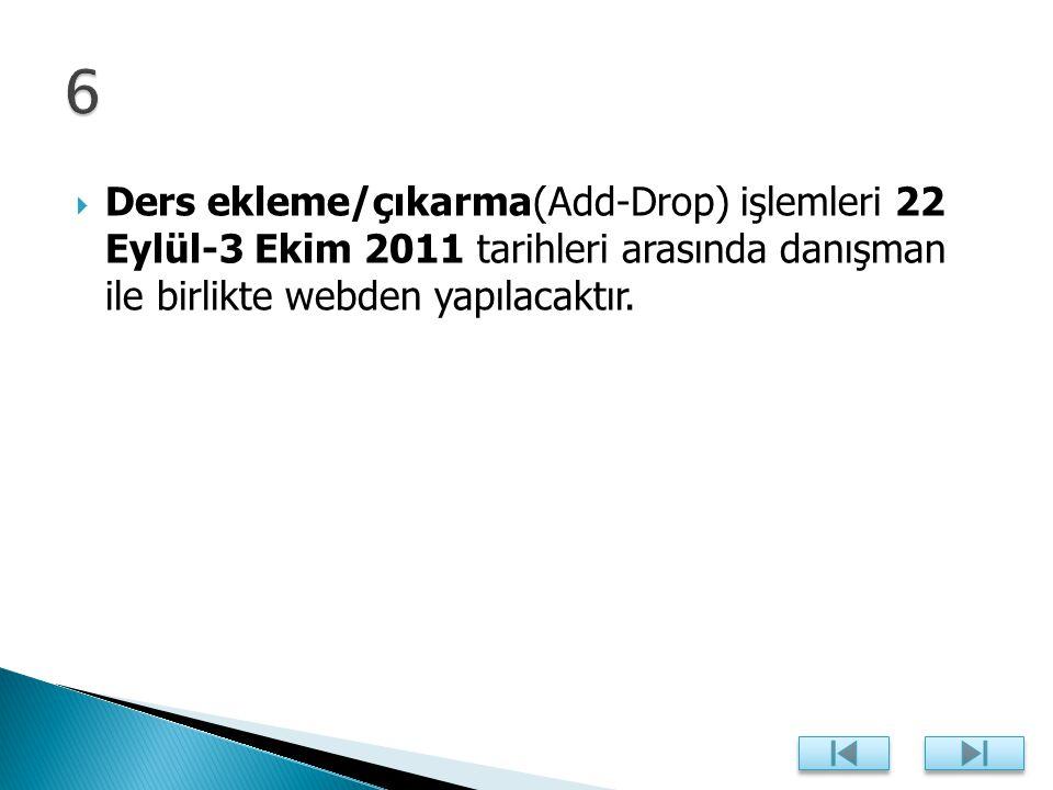  Ders ekleme/çıkarma(Add-Drop) işlemleri 22 Eylül-3 Ekim 2011 tarihleri arasında danışman ile birlikte webden yapılacaktır.