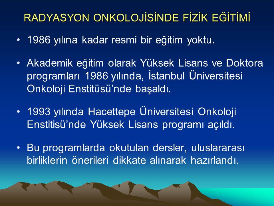 RADYASYON ONKOLOJİSİNDE FİZİK EĞİTİMİ 1986 yılına kadar resmi bir eğitim yoktu. Akademik eğitim olarak Yüksek Lisans ve Doktora programları 1986 yılın