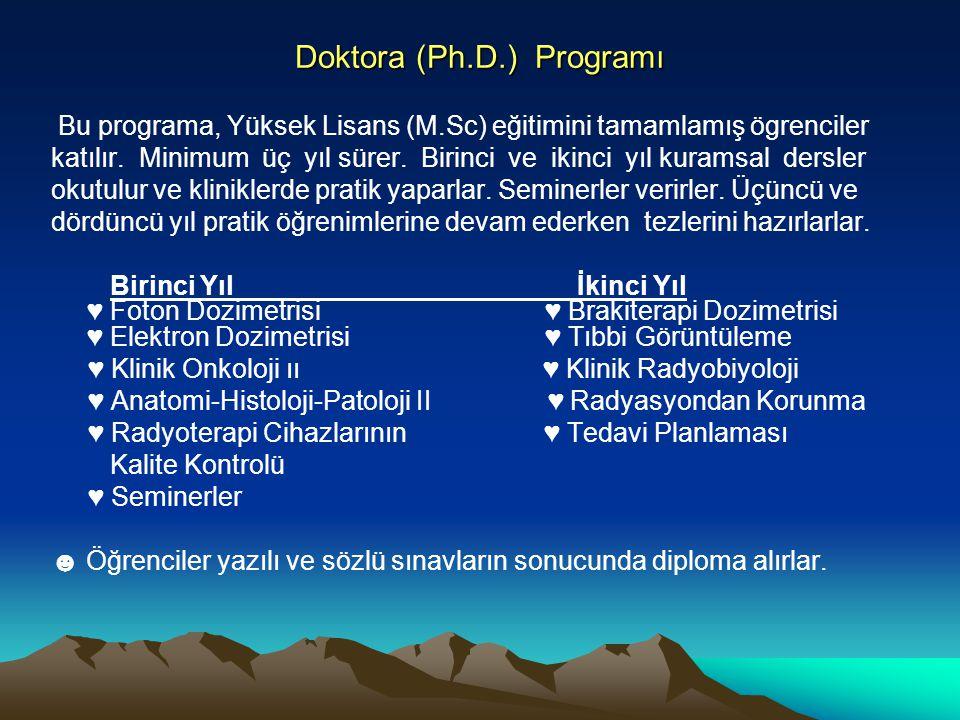 Doktora (Ph.D.) Programı Bu programa, Yüksek Lisans (M.Sc) eğitimini tamamlamış ögrenciler katılır. Minimum üç yıl sürer. Birinci ve ikinci yıl kurams