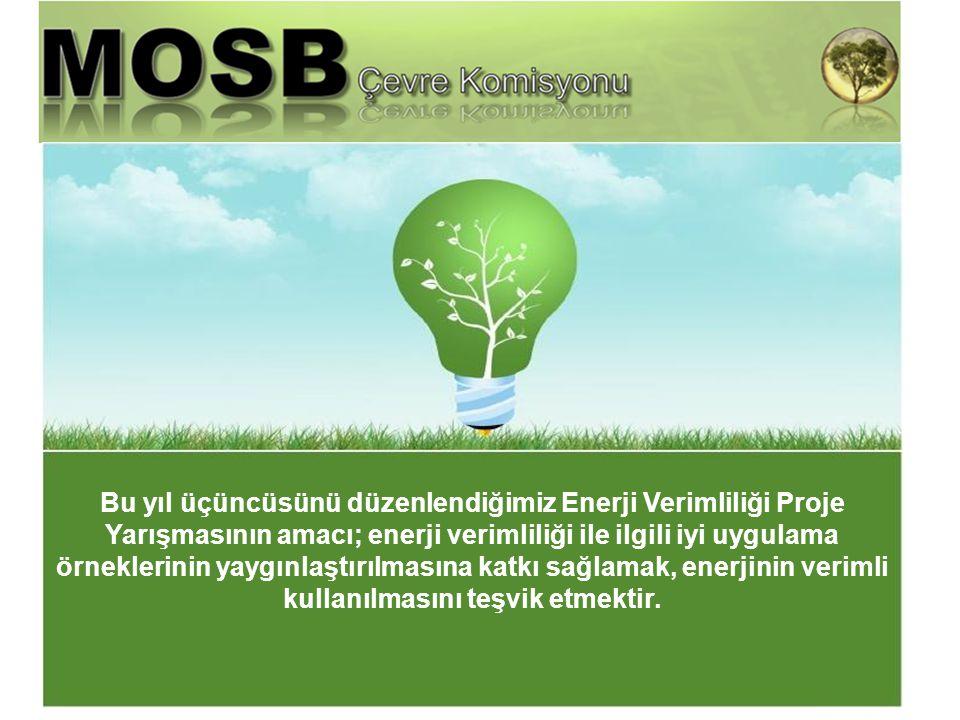 MOSB bünyesinde faaliyet gösteren tüm sanayi tesislerinin katılımına açık olan yarışmaya katılan projelerin değerlendirilmesinde; Sanayide enerjinin verimli kullanılması ve enerji tasarrufu sağlayıcı fikirleri içermesi, Çevrenin korunmasına dikkat çekmesi, Ülke ekonomisine katkıda bulunabilecek öneriler taşıması, Uygulanabilir/Yaygınlaştırılabilir önerilerden oluşması, konularına dikkat edilmiştir.