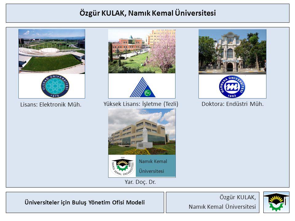 Üniversiteler için Buluş Yönetim Ofisi Modeli Özgür KULAK, Namık Kemal Üniversitesi Özgür KULAK, Namık Kemal Üniversitesi Lisans: Elektronik Müh.