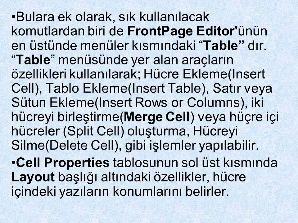 """Bulara ek olarak, sık kullanılacak komutlardan biri de FrontPage Editor'ünün en üstünde menüler kısmındaki """"Table"""" dır. """"Table"""" menüsünde yer alan ara"""