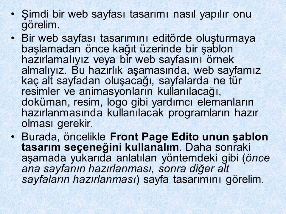 Şimdi bir web sayfası tasarımı nasıl yapılır onu görelim. Bir web sayfası tasarımını editörde oluşturmaya başlamadan önce kağıt üzerinde bir şablon ha