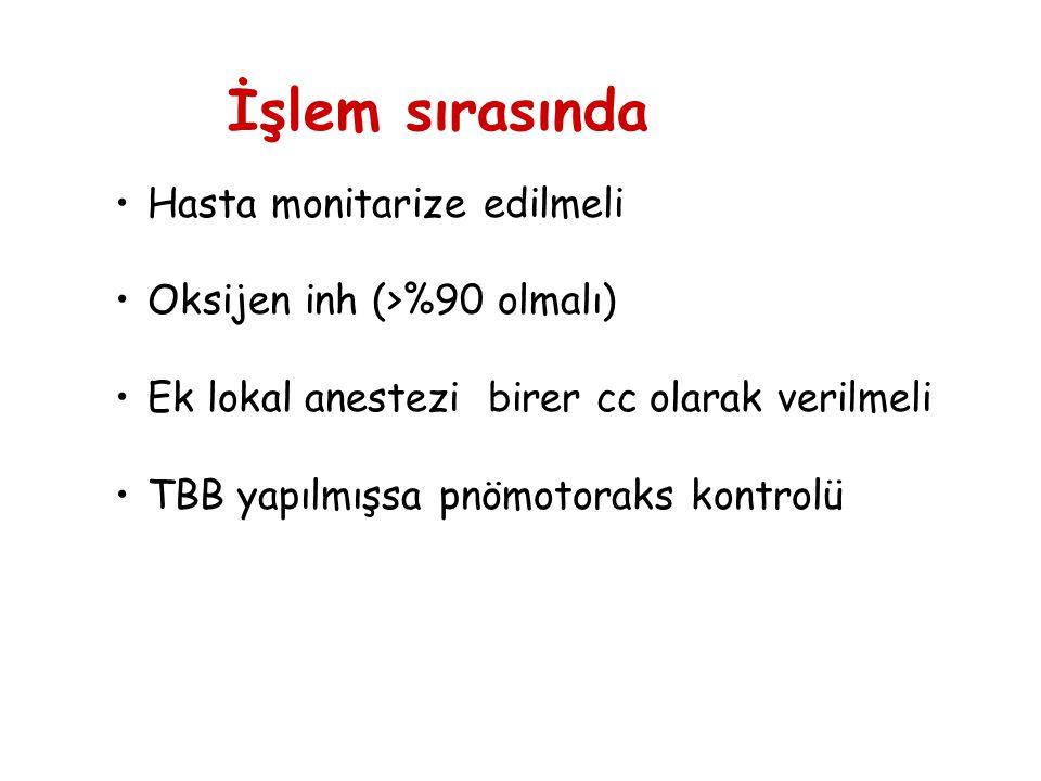 Hasta monitarize edilmeli Oksijen inh (>%90 olmalı) Ek lokal anestezi birer cc olarak verilmeli TBB yapılmışsa pnömotoraks kontrolü İşlem sırasında