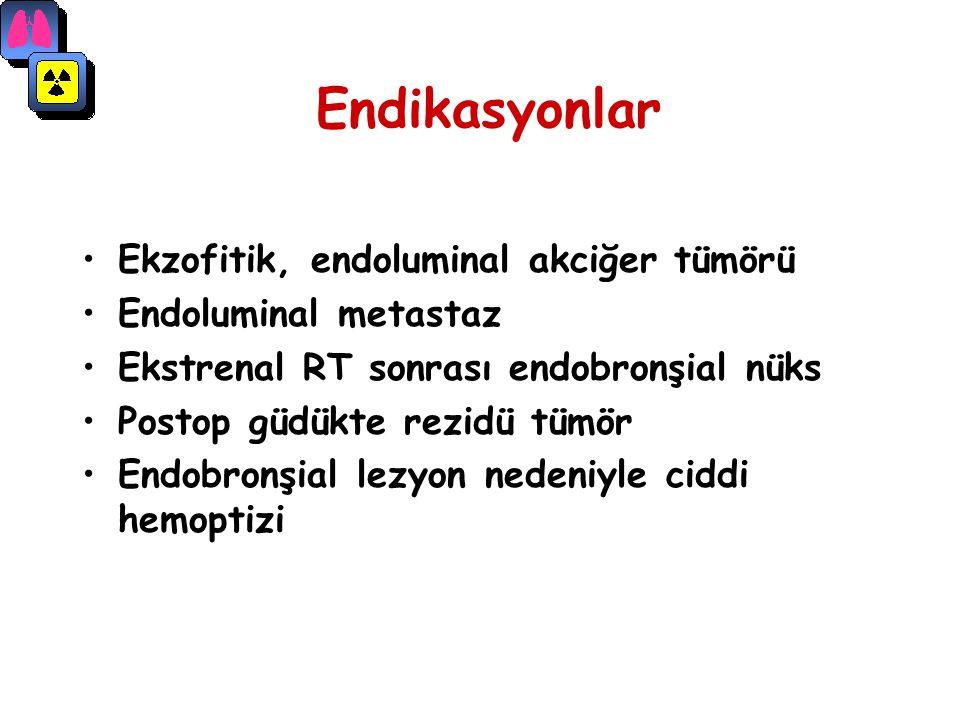 Endikasyonlar Ekzofitik, endoluminal akciğer tümörü Endoluminal metastaz Ekstrenal RT sonrası endobronşial nüks Postop güdükte rezidü tümör Endobronşi