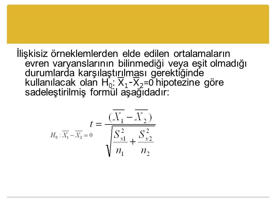 İlişkisiz örneklemlerden elde edilen ortalamaların evren varyanslarının bilinmediği veya eşit olmadığı durumlarda karşılaştırılması gerektiğinde kullanılacak olan H 0 :  1 -  2 =0 hipotezine göre sadeleştirilmiş formül aşağıdadır:
