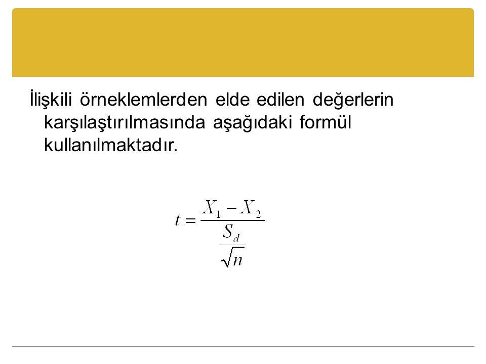 İlişkili örneklemlerden elde edilen değerlerin karşılaştırılmasında aşağıdaki formül kullanılmaktadır.