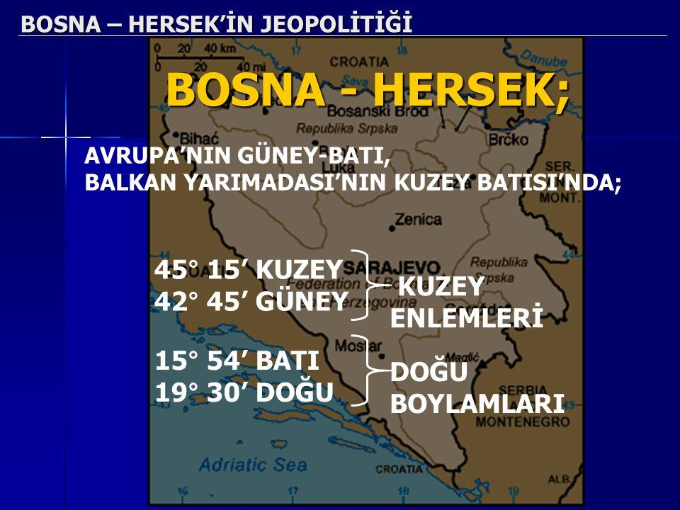 BOSNA – HERSEK'İN JEOPOLİTİĞİ BOSNA - HERSEK; AVRUPA'NIN GÜNEY-BATI, BALKAN YARIMADASI'NIN KUZEY BATISI'NDA; 45° 15' KUZEY 42° 45' GÜNEY KUZEY ENLEMLE