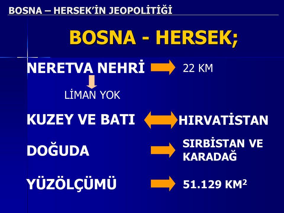 BOSNA – HERSEK'İN JEOPOLİTİĞİ BOSNA - HERSEK; NERETVA NEHRİ 22 KM LİMAN YOK KUZEY VE BATI HIRVATİSTAN DOĞUDA SIRBİSTAN VE KARADAĞ YÜZÖLÇÜMÜ 51.129 KM 2