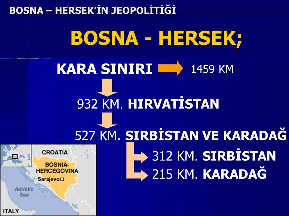 BOSNA – HERSEK'İN JEOPOLİTİĞİ BOSNA - HERSEK; KARA SINIRI 1459 KM 932 KM. HIRVATİSTAN 527 KM. SIRBİSTAN VE KARADAĞ 312 KM. SIRBİSTAN 215 KM. KARADAĞ