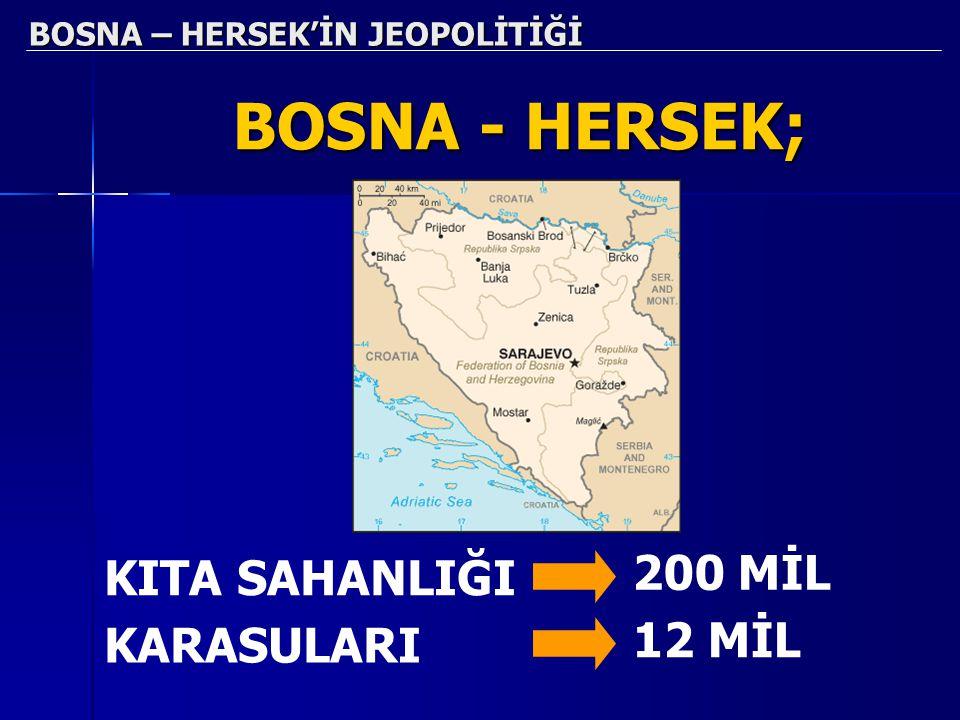 BOSNA – HERSEK'İN JEOPOLİTİĞİ BOSNA - HERSEK; KITA SAHANLIĞI 200 MİL KARASULARI 12 MİL