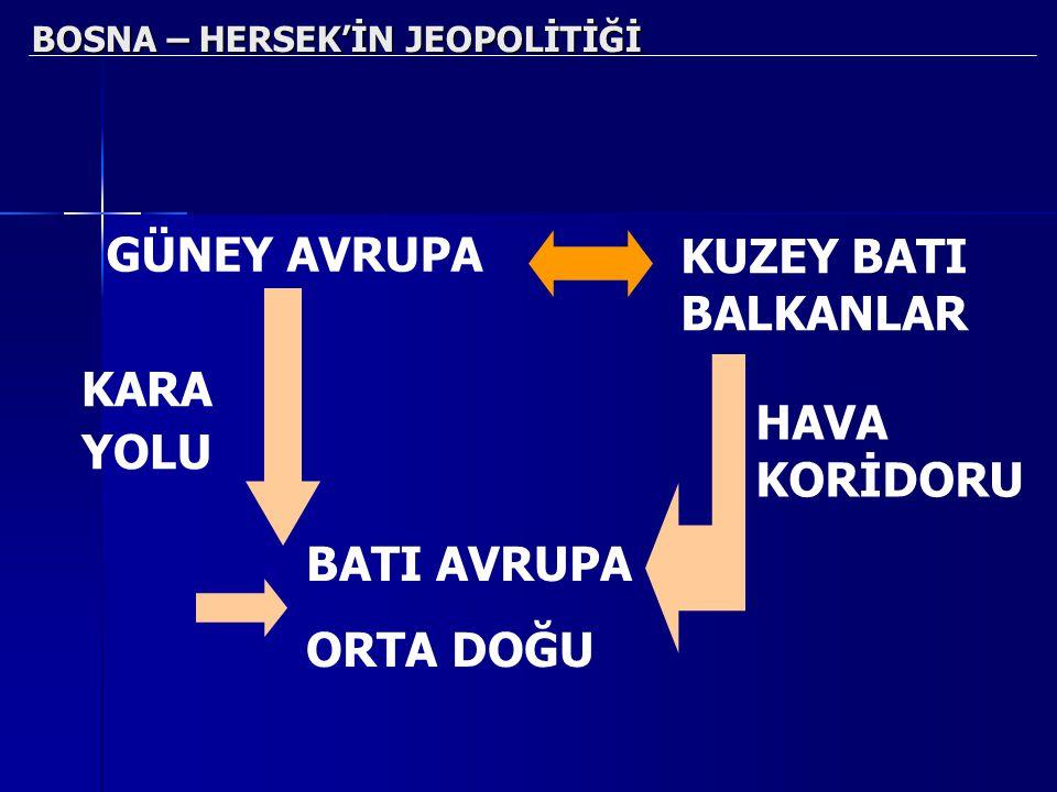 BOSNA – HERSEK'İN JEOPOLİTİĞİ GÜNEY AVRUPA KUZEY BATI BALKANLAR KARA YOLU HAVA KORİDORU BATI AVRUPA ORTA DOĞU
