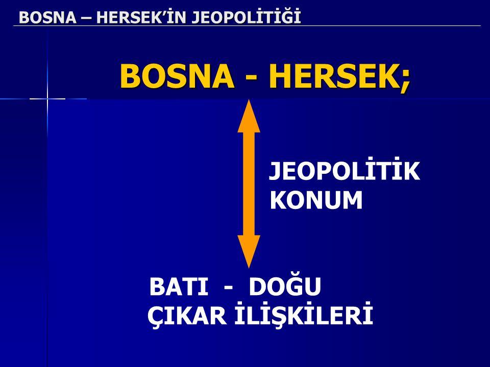BOSNA – HERSEK'İN JEOPOLİTİĞİ BOSNA - HERSEK; JEOPOLİTİK KONUM BATI - DOĞU ÇIKAR İLİŞKİLERİ