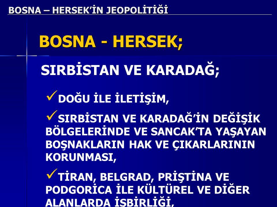 BOSNA – HERSEK'İN JEOPOLİTİĞİ BOSNA - HERSEK; DOĞU İLE İLETİŞİM, SIRBİSTAN VE KARADAĞ'İN DEĞİŞİK BÖLGELERİNDE VE SANCAK'TA YAŞAYAN BOŞNAKLARIN HAK VE