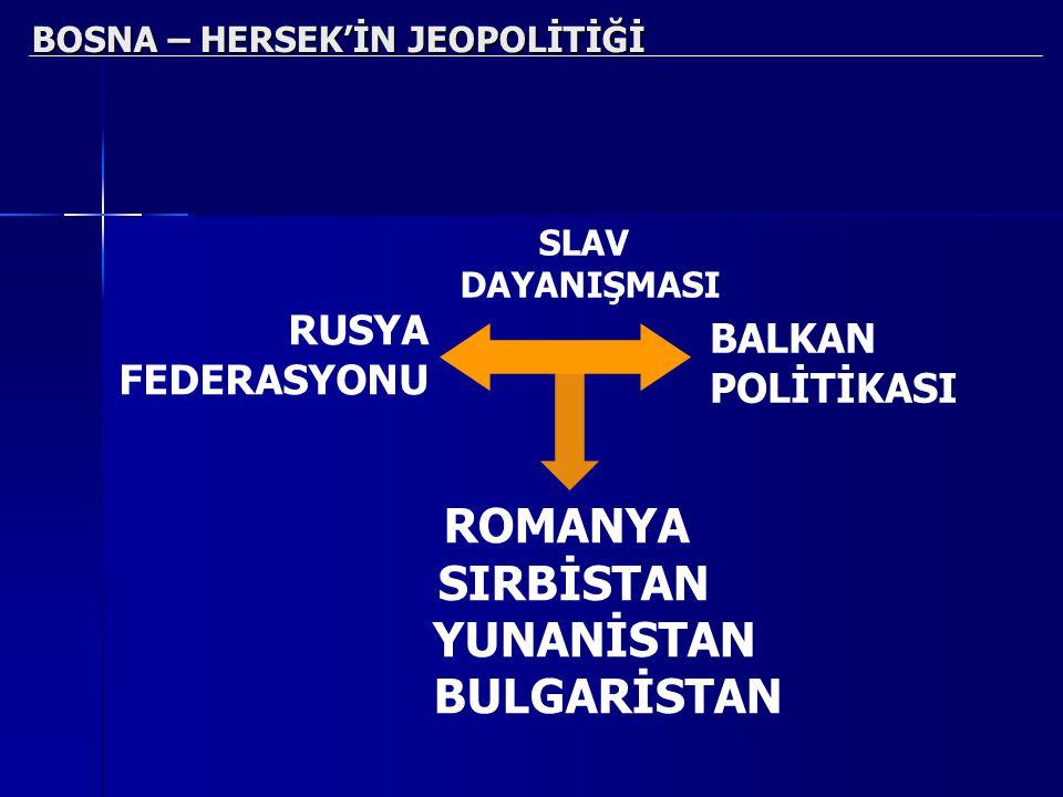 BOSNA – HERSEK'İN JEOPOLİTİĞİ RUSYA FEDERASYONU BALKAN POLİTİKASI ROMANYA SIRBİSTAN YUNANİSTAN BULGARİSTAN SLAV DAYANIŞMASI