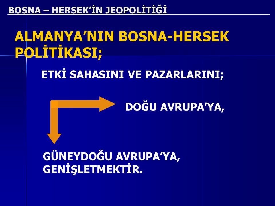 BOSNA – HERSEK'İN JEOPOLİTİĞİ ALMANYA'NIN BOSNA-HERSEK POLİTİKASI; DOĞU AVRUPA'YA, GÜNEYDOĞU AVRUPA'YA, GENİŞLETMEKTİR. ETKİ SAHASINI VE PAZARLARINI;