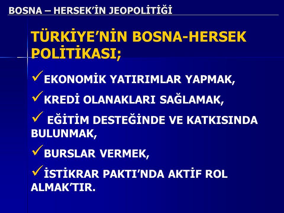 BOSNA – HERSEK'İN JEOPOLİTİĞİ TÜRKİYE'NİN BOSNA-HERSEK POLİTİKASI; EKONOMİK YATIRIMLAR YAPMAK, KREDİ OLANAKLARI SAĞLAMAK, EĞİTİM DESTEĞİNDE VE KATKISI
