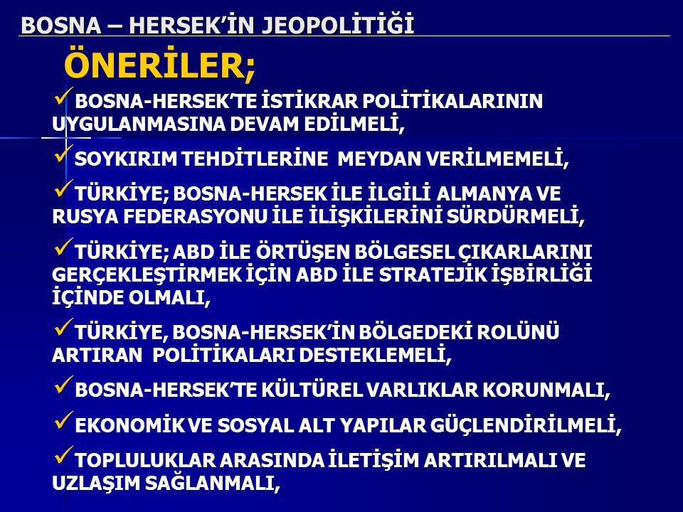 BOSNA – HERSEK'İN JEOPOLİTİĞİ ÖNERİLER; BOSNA-HERSEK'TE İSTİKRAR POLİTİKALARININ UYGULANMASINA DEVAM EDİLMELİ, SOYKIRIM TEHDİTLERİNE MEYDAN VERİLMEMEL