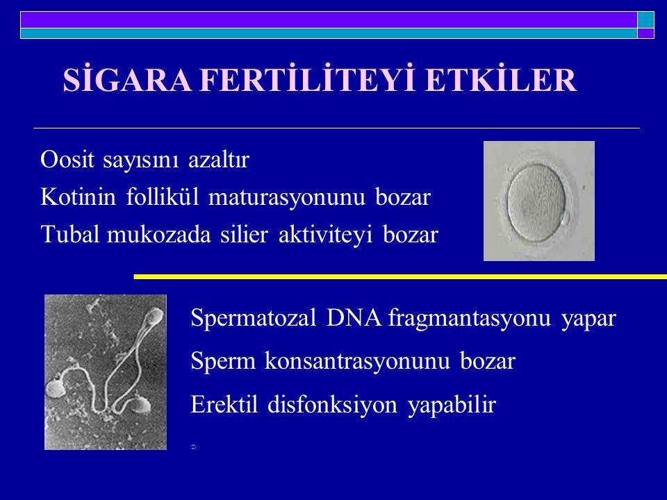 Oosit sayısını azaltır Kotinin follikül maturasyonunu bozar Tubal mukozada silier aktiviteyi bozar Spermatozal DNA fragmantasyonu yapar Sperm konsantr